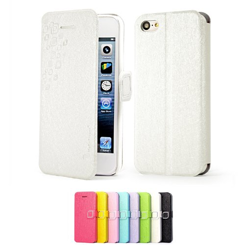 Mulbess Apple iPhone 5C Cover a Libro, Custodia in Pelle con Supporto per iPhone 5C Colore, Bianco