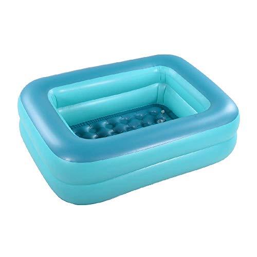 HIWENA Inflatable Kiddie Pool, 45' Green Kids Swimming Pool Summer Water Fun Bathtub with Inflatable Soft Floor