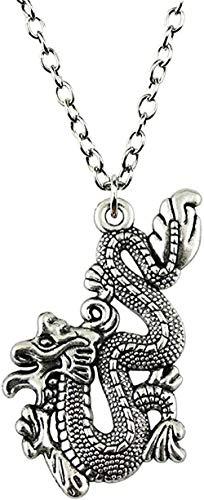 WSBDZYR Co.,ltd Necklace Fashion Dragon Pendant Necklace 54X33Mm Antique Silver Color Necklace Jewelry Chain Accessories
