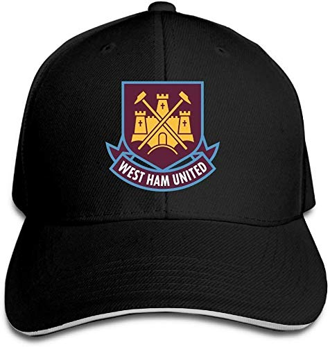 YVES West Ham United Fc London Logo (1) Sandwich Peaked Hat/Cap Zwart