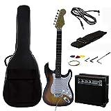 Rockjam pleine grandeur Guitare électrique Superkit avec amplificateur de guitare, cordes de guitare, sangle de guitare, Sac guitare et câble - Sunburst
