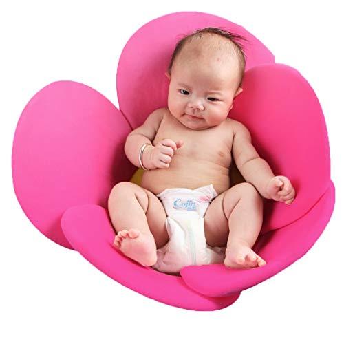 Vocheer - Alfombrilla de baño para bebé, diseño de flores, para recién nacidos de 0 a 6 meses, Rojo