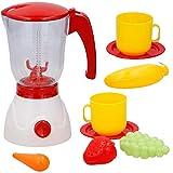BAKAJI Frullatore Giocattolo per Bambini Funzionante Cucina con Accessori Gioco 8 Pezzi in Plastica Colore Bianco e Rosso