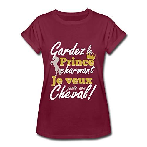 Prince Je Veux Le Cheval T-Shirt Oversize Femme, S, Bordeaux
