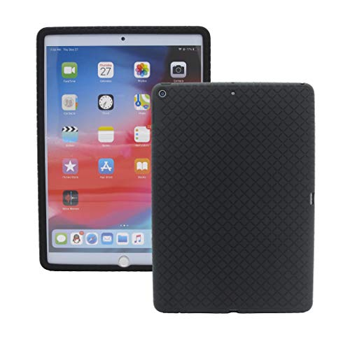 Veamor iPad 9.7 Inch 2018/2017 Silicone Back Case Cover, Anti Slip Rubber Protective Skin Soft Bumper for Apple iPad 6th / 5th Generation, Kids Friendly/Ultra Slim/Shockproof (Black)
