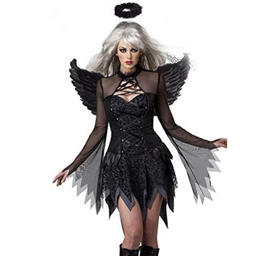 LoveLeiter Halloween Kostüm für Damen Feen schwarzer Vampir Engel Damenkostüm Heiligenschein+Flügel+ Kleid Frauenkostüm sexy Himmelsbotin Kurzes, figurbetontes Kleid Wundervolle Tüllärmel (Schwarz, M)