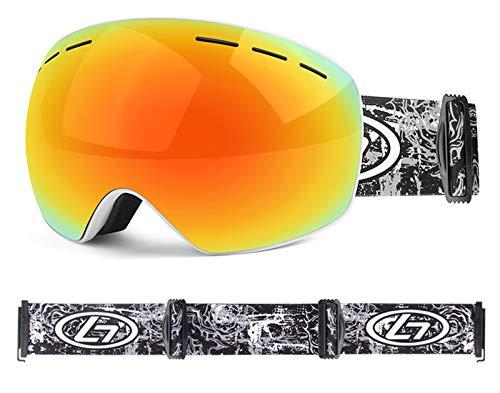 XDKS Gafas de esquí, esquí y snowboard, gafas OTG para hombre y mujer, protección UV antivaho, casco compatible (rojo y blanco)