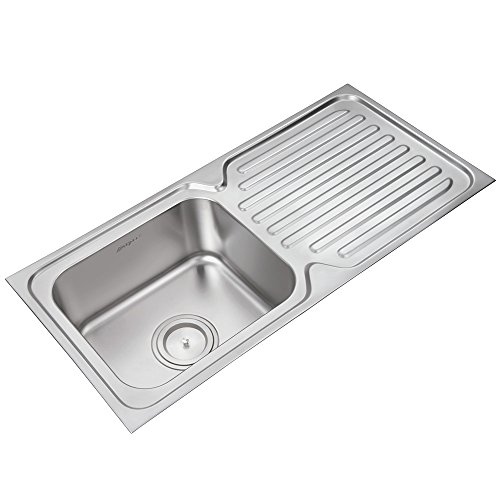 Anupam 203A, 304 Grade Stainless Steel Single Square Bowl Kitchen Sink (37 x 18 x 8 Inch), Satin Finish