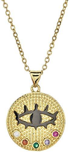 Liuqingzhou Co.,ltd Collar con Colgante de Mano de Ojo de Cristal Turco, joyería de Acero Inoxidable de Color Dorado para Mujer, Gargantilla de Cadenas de eslabones de clavícula
