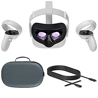 2020 Oculus Quest 2 All-In-One VR Headset, Touch Controllers, 64GB SSD, 1832x1920 up to 90 Hz Refresh Rate LCD, Glasses Compitble, 3D Audio, Mytrix Carrying Case, USB-C PC VR Cable (3M)