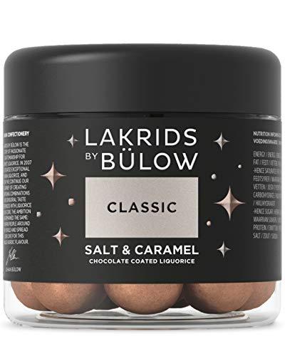 LAKRIDS BY BÜLOW - CLASSIC - Salt & Caramel - 125g - Dänische Gourmet Lakritz-Kugeln - Süßer Lakritzkern umhüllt von Dulce-Schokolade & Meersalz - Süßigkeiten Geschenk für Lakritze Liebhaber