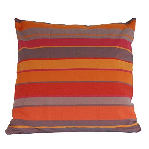 Funda de cojín en algodón–rayas naranja–61x 61m–hecho a mano