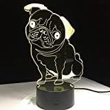 Cute Bulldog Lights Night Lights Juguetes para niños Control Remoto Touch Table Lamp Color Intermitente Luces Decoraciones para el hogar