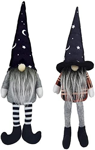 dh-15 2 Stück Halloween Dekorationen Zwerg, Gartenzwerge gesichtslose Puppe Rudolph, schwarz, Halloween Plüschpuppen für Party Home