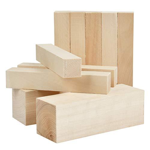 YOTINO 10 piezas Bloques de madera para tallar y hacer manualidades Juego de 10 piezas - 2 (15X5X5cm) y 8 (15X2.5X2.5) cm Talla de madera de tilo natural para artesanía de arte pulido liso DIY