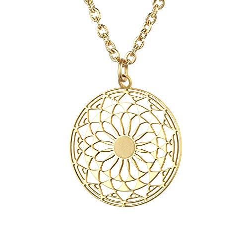 Tara Kette Mandala Edelstahl Yoga Yogaschmuck Hinduismus Talisman Glücksbringer Schutzamulet Farbe Gelbgold