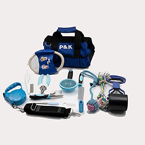 P&K 15 teiliges blau Hundepflegeset Tierpflegeset Fellpflege Krallenpflege Hundespielzeug