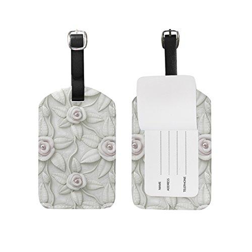 My Daily Etiquetas de equipaje con estampado floral en 3D, de piel sintética, para maletas, equipaje, 2 unidades