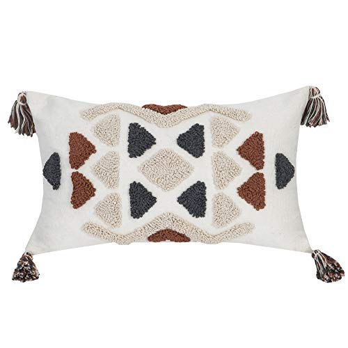Faycole Behemian Tufted Tribal Decorative Lumbar Pillow Cases with Tassels Oblong Pillow Covers for Sofa Couch Farmhouse 12x20 Inches Cream Grey Rust
