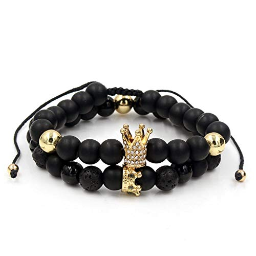 Celway Punk Crown Handmade Bracelet Essential Oil Diffuser Lava Rock Natural Gemstone Imperial Fashion Jewelry, Unisex King Queen Charm Gifts for Families Lover Girlfriend Boyfriend Friends (gold)