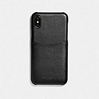 Coach iPhone X/XS Black Leather Case with Outside Slip Pocket