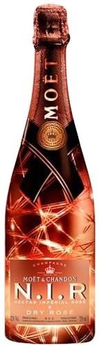 Moet & Chandon N.I.R. Nectar Imperial Rosé Dry Champagne 75cl - Light up Bottle