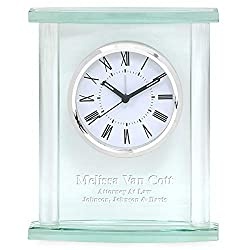 Executive Gift Shoppe | Glass Personalized Table Clock with Silver Finish Accents | Customized Desk Clock with Free Engraving | Free Custom Engraving | Perfect Business Gift | Presentation Box