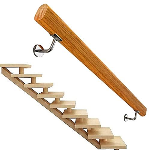 Pasamanos de la escalera (1ft-20ft), madera maciza Handrail de la escalera antideslizante, hogar contra la pared Interior Loft Barandillas ancianas Pasadores de pasajeros Rodilla de soporte de