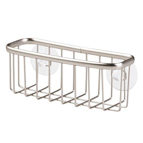 iDesign Estropajero, pequeño porta estropajos de metal para esponjas, raspadores de cacerolas y otros utensilios de cocina, organizador de fregadero con ventosas, plateado mate