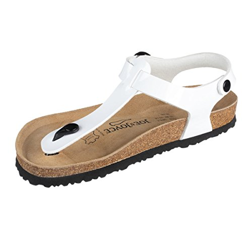 JOE N JOYCE | Lima Sandale Zehentrenner Damen | SynSoft Komfort Fußbett | White Patent Größe EU 40 Normal