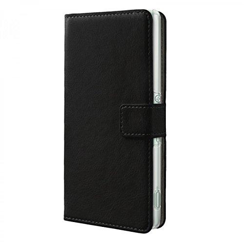 eFabrik Hülle für Sony Xperia Z3+ Tasche (Xperia Z3 Plus) Smartphone Hülle Handy Zubehör Innenfächer Aufsteller Leder-Optik, Farbe:Schwarz