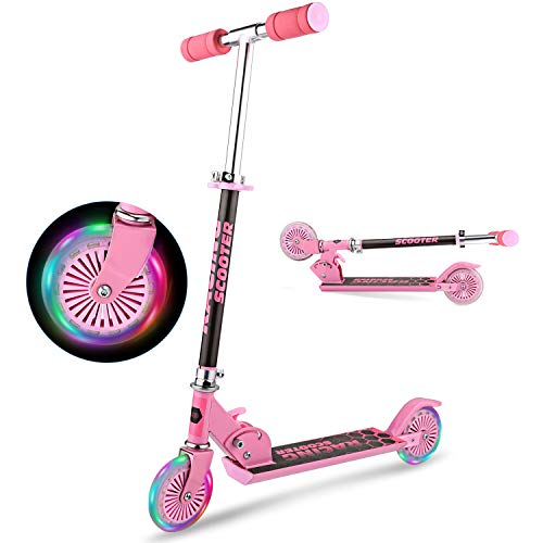 YUEBO Kick Scooter for Kids with LED Light Up Wheels, Adjustable Height, Lightweight Folding Kids Scooters 2 Wheel for Girls Boys, Rear Fender Break, 110lb Weight Capacity