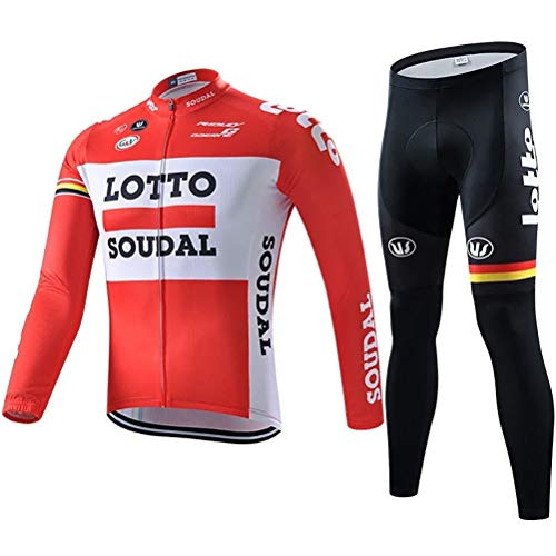 ETScooter Men Cycling Clothing Set, Outdoor Road Mountain Bicycle Long Sleeve Full Zip Cycling Jersey and 5D Padded Bib Tights Trousers Cycling Suit (Color : B, Size : M)
