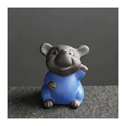 Púrpura Arcilla té Mascota de Dibujos Animados pequeño ratón Estatua de la Estatua de los carniceros Creativo 12 Zodiaco Ornamento Animal estatuilla decoración del hogar (Color : D)