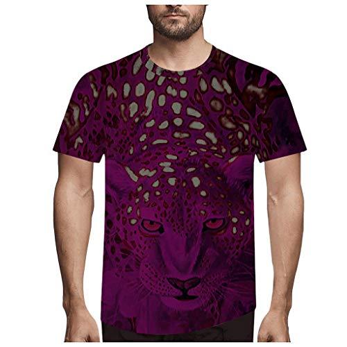 Yowablo Shirt Femme Elegant Shirt Femme Grande Taille T Shirt Tops Hommes Mode Nouveauté LéOpard 3D Imprimer O-Neck Blouse À Manches Courtes (3XL,1Violet)