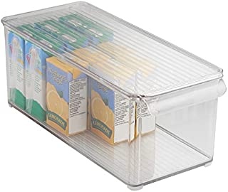 mDesign boîte de rangement avec couvercle pour frigidaire ou congélateur – bac alimentaire en plastique pour denrées alime...