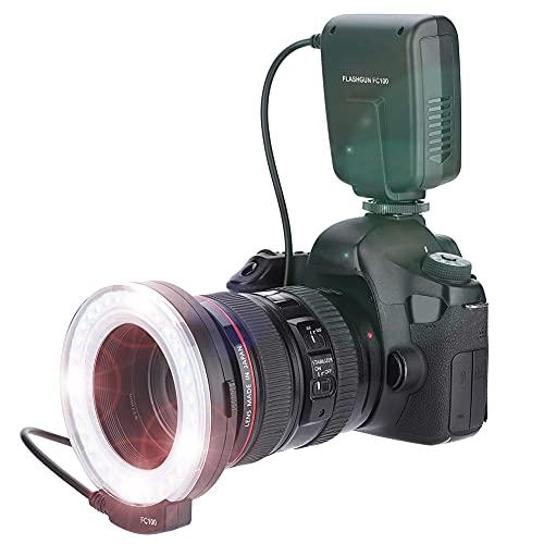 Per MEIKE FC-100 Portable LED Macro Ring Flash,5500K Regolazione luminosità Speedlite Videocamera Kit luce di riempimento con 8 adattatori Anello e controller per Canon per Nikon fotocamera