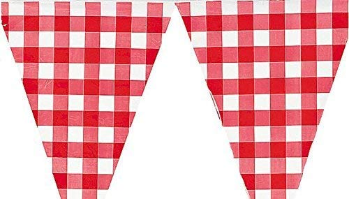 HAPPY DEALS ~ 2 Pack - Large (Plastic) Red and White Checkered Gingham Pennant Banner - 24 feet Long