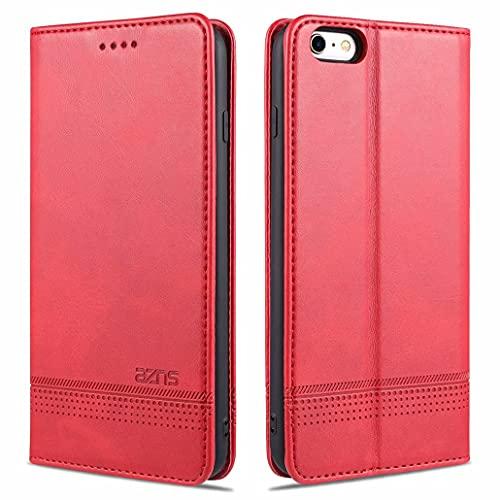 CRABOT Reemplazo para iPhone 6 Plus Funda de Cuero PU Plegable Cartera Cierre Magnético Ranura para Tarjeta,Soporte Plegable Protectora Cover(Rojo)