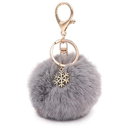 Pompons Schlüsselanhänger flauschige Pompons Schlüsselanhänger Kunstfell Schlüsselanhänger für Frauen Mädchen, Grau (grau), Small