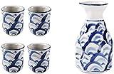 JJDSN Set di Tazze da Sake Giapponese Set di Bicchieri da Vino Bicchieri da Vino in Ceramica Dipinta a Mano in Ceramica -A21