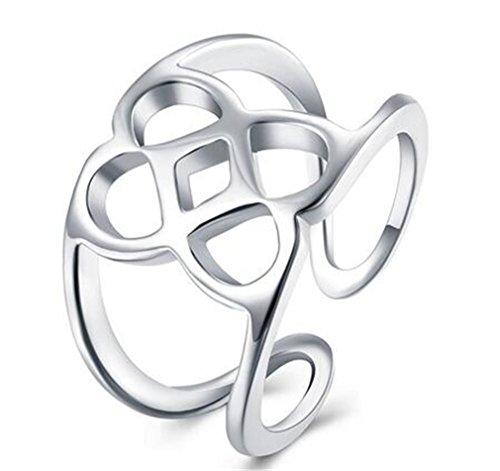 Boowhol Anillo para mujer de plata 925 Personality hueco, anillo de sellado (plata)