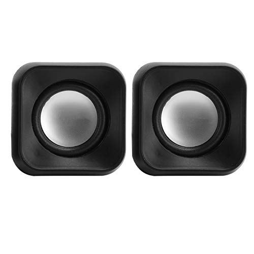 T opiky Mini Speaker, Portable USB Home Video Audio Speaker 3.5mm Jack 2 x 3w Wired Subwoofers for Computer/Laptop/TV/MP3/MP4, Left and Right Round Sound Bass Speaker