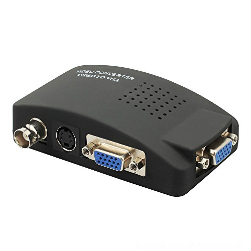 Usee BNC S-Video VGA to VGAビデオコンバーター BNC S端子 VGA入力 VGA出力 DVR DVD CCTVカメラ 防犯カメラ TV PC モニター対応 PAL NTSCサポート(黒)