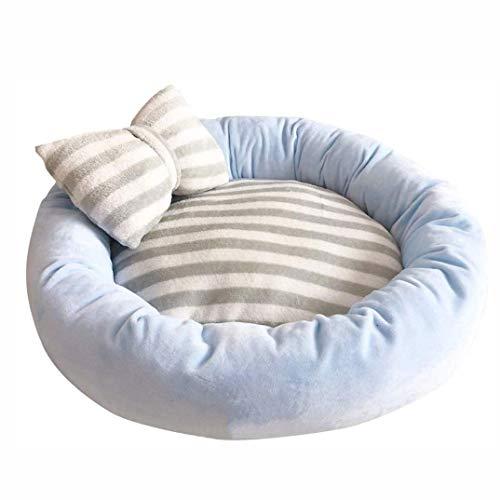 ZBQLKM Cama para Mascotas para Perros y Gatos Nido Redondo, Disfrute del sueño, un Gato Lavable Cama calmante, para Perros pequeños y Gatos (Color : Blue)
