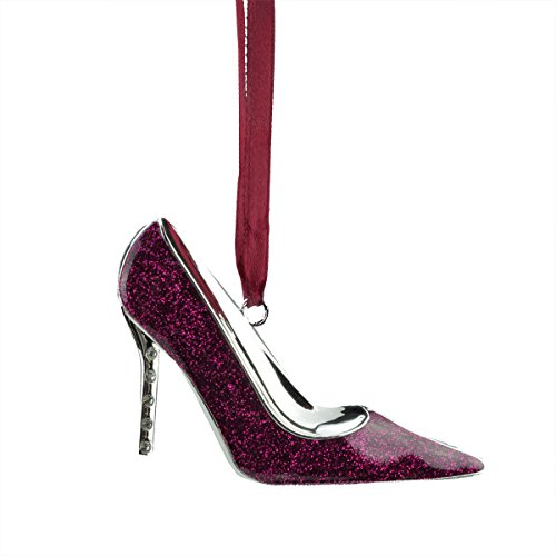 Northlight Regal Silver-Plated Glittered Magenta Stiletto Ornament with European Crystals, 4'