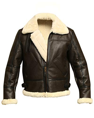 B3 Bomber WWII Pilot Real Shearling Brown Sheepskin Leather Jacket (2XL)