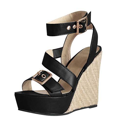 Jimmackey Espadrillas Donna Open Toe Scarpe Moda Sandali Espadrillas con Cinturino alla Caviglia Zeppe Donna Corda Intrecciato Tanga Tacco Zeppa Piattaforma