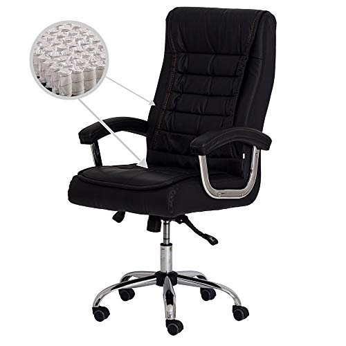 Cadeira Escritório Presidente Munique Preta Mola Ensacada 4535