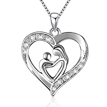 925 Sterling Silver Mother and Child Love Heart Pendant Necklace Mom Daughter Jewelry Gifts for Women